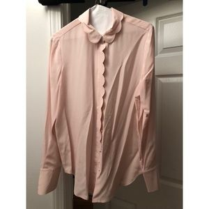 Banana Republic Tops - Banana Republic Scalloped Silk Blouse Size Small